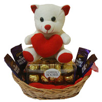 4 Dairy Milk 16 Ferrero Rocher Chocolates and 6 Inch Teddy Basket