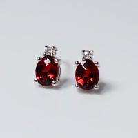 White Gold Garnet and Diamond Stud Earrings ~ Todays Cargo