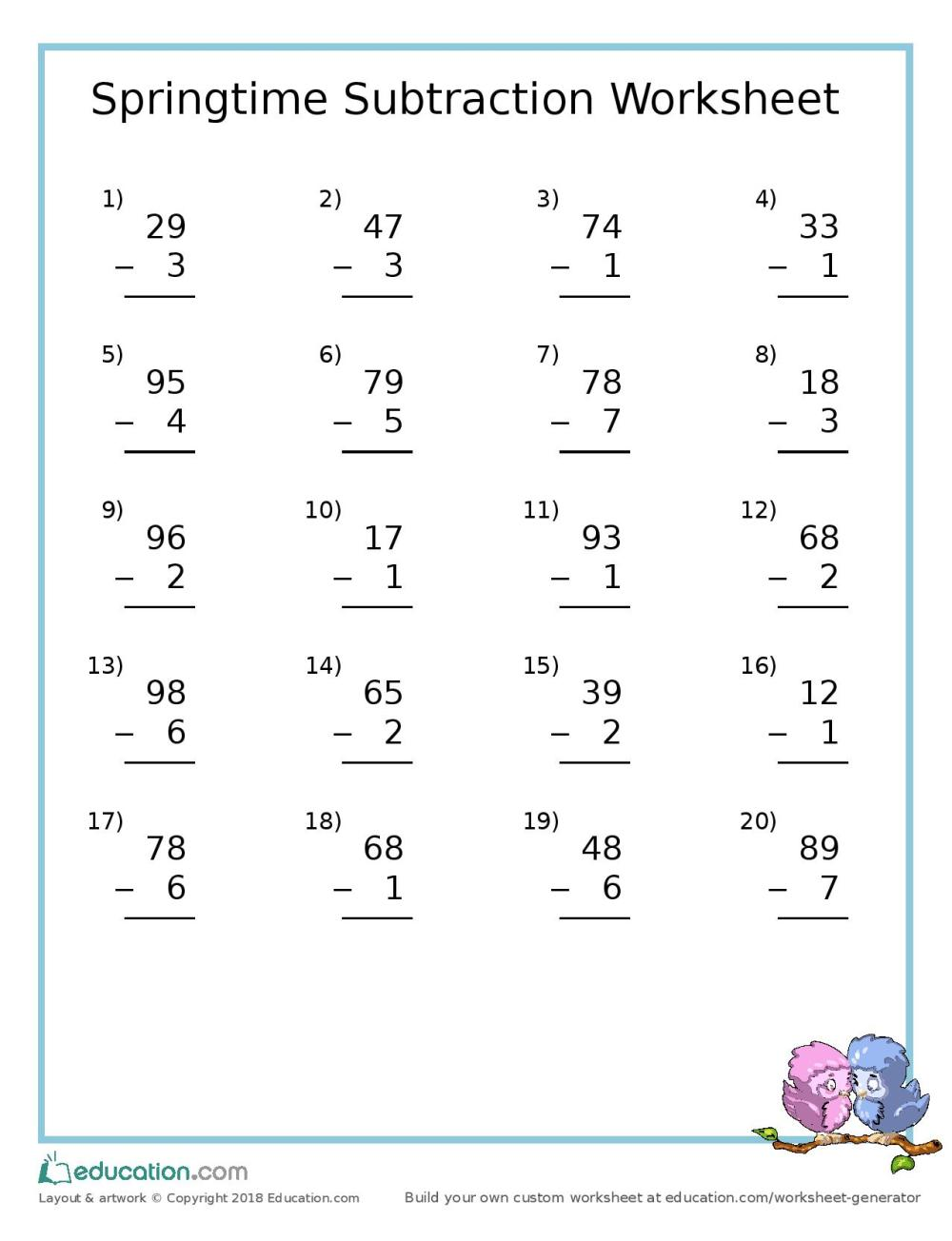 medium resolution of Free Spring Subtraction Worksheet – Today's Catholic Homeschooling