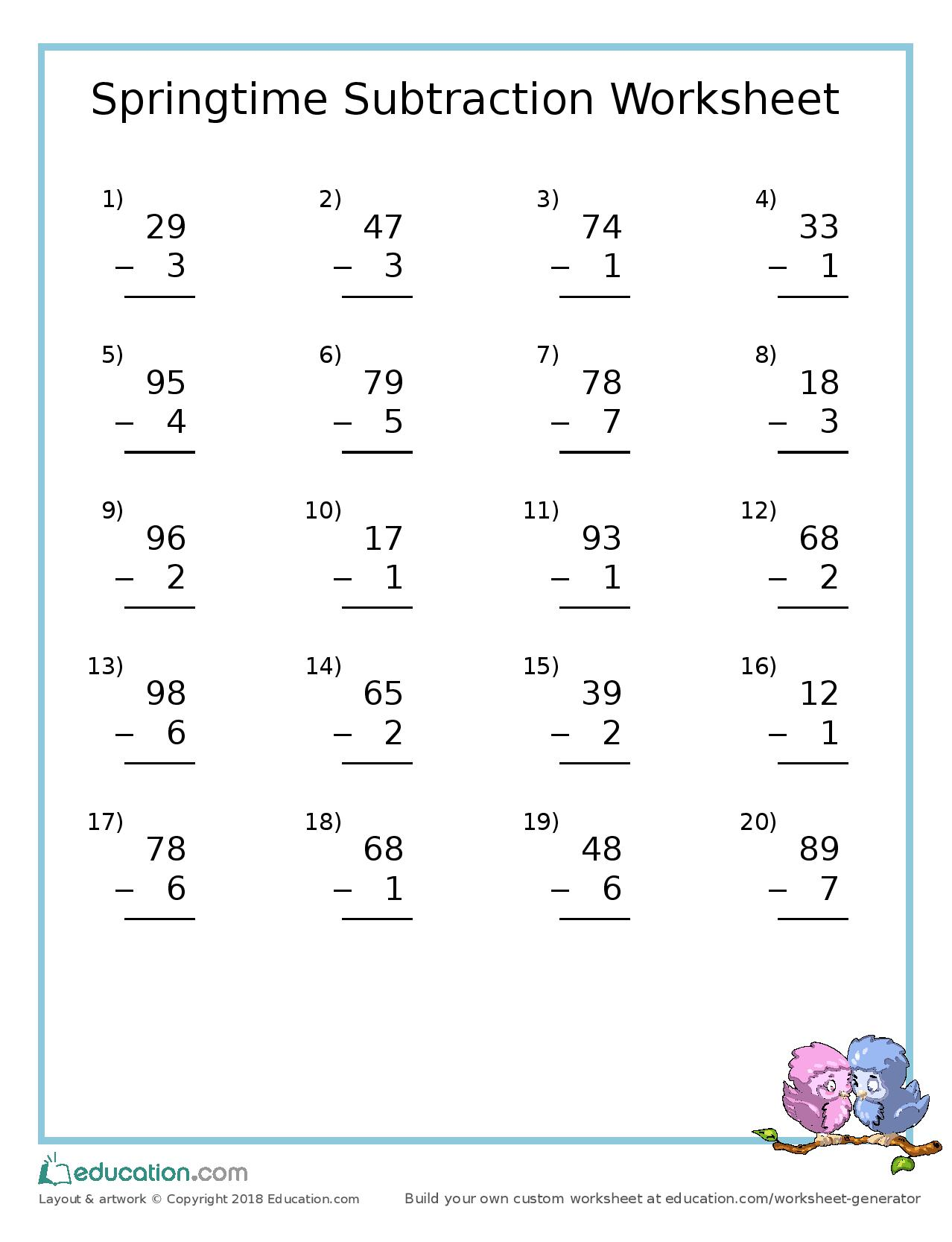 hight resolution of Free Spring Subtraction Worksheet – Today's Catholic Homeschooling
