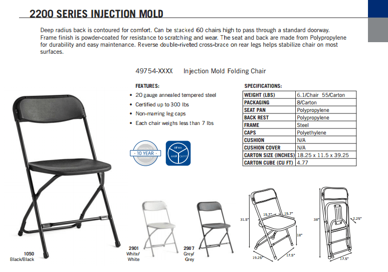 folding chair enclosure purple club samsonite 2200 series injection mold l affordable product specification sheet