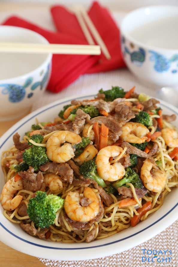 Pork Shrimp Vegetable Lo Mein Recipe Today S Delight