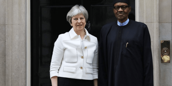 Breaking: Buhari meets British PM Theresa May (video)