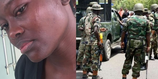 Lady battered by soldiers who almost knocked her down in Lagos