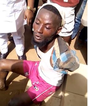 Suspected Yahoo boy apprehended while trying to steal underwear for ritual purposes in Edo (Video)