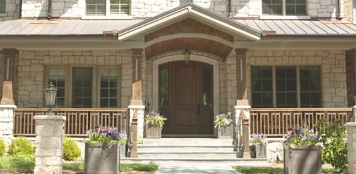 Wood entry door on house