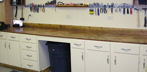 buy old kitchen cabinets door knobs workbench options for your shop today s homeowner made from with plywood top