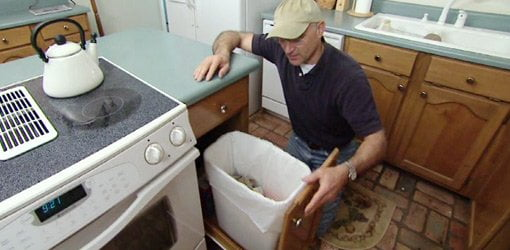 kitchen trash pots how to build a pullout bin for your today s homeowner joe truini with homemade can