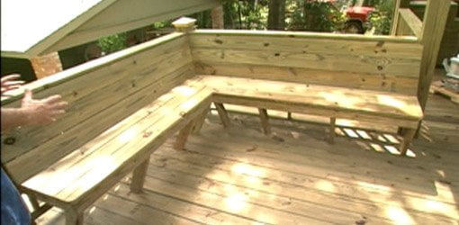 how to repair a lawn chair ergonomic office jakarta add built-in seating deck | today's homeowner