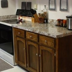 Inexpensive Countertops For Kitchens Oak Kitchen Island Budget Countertop And Cabinet Update Today S Homeowner Faux Granite Spruced Up Cabinets After Makeover