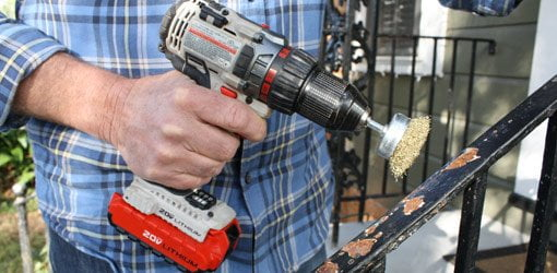 Removing Rust On Wrought Iron With A Wire Brush Drill Attachment