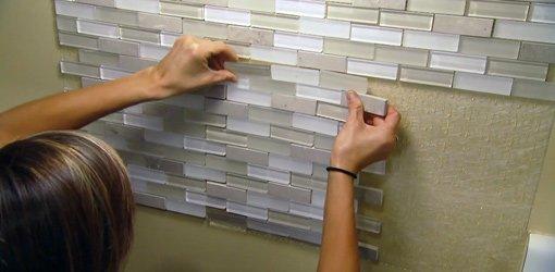 Installing a Tile Backsplash Using a SelfAdhesive Mat