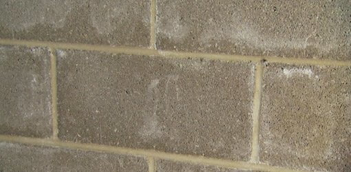 White Efflorescence Stains On Concrete Block Wall