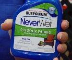Bottle of NeverWet Outdoor Fabric Spray from Rust-Oleum.