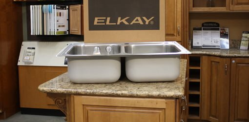 elkay kitchen sinks white oak cabinets magna double stainless steel sink with accessories bowl