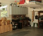 Garage with zone for tools.