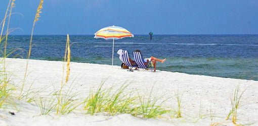 People sitting in chairs under umbrella on beach on the Gulf Coast.