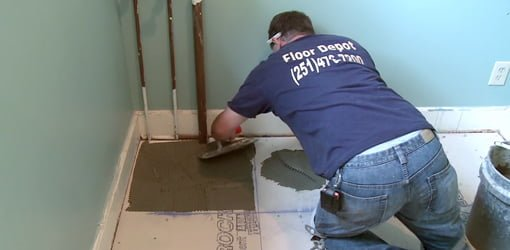 Laying tile on cement backer board over a plywood subfloor. & Tiling Over Concrete and Wood Floors | Todayu0027s Homeowner