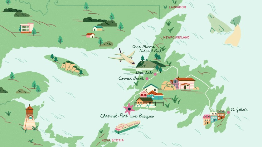 Map Channel-Port aux Basques in Newfoundland