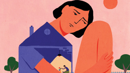 A mom hunched over in sadness, her torso is a broken house and inside her chest is her child playing with blocks