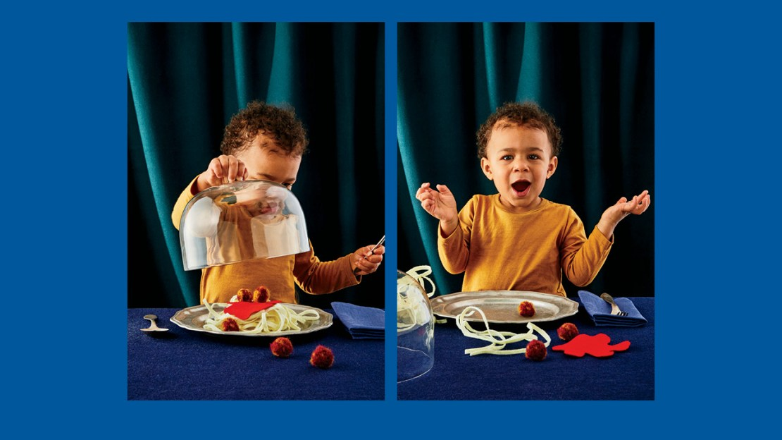 Two photos of a toddler sitting with a plate of felt food looking curious and excited for a guide to feeding your kids