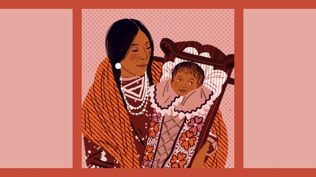 Illustration of an Indigenous mother holding her baby in a tikinaagan