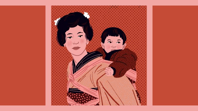 Illustration of a Japanese mother wearing her baby on her back
