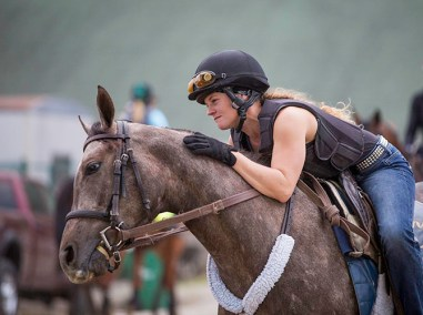 Exercise rider Hannah Sandwick.