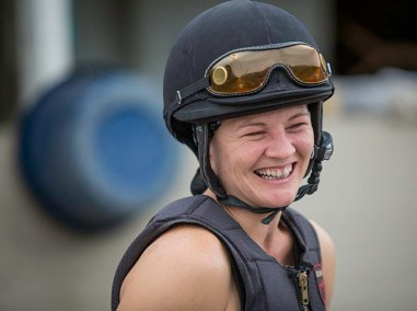 Exercise rider Hannah Sandwick, one of the few women working Derby week on the backside.