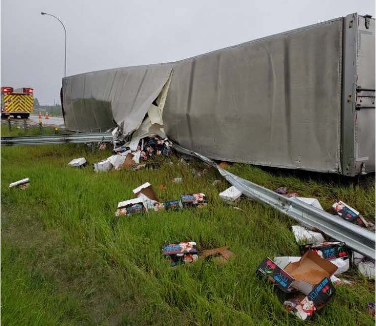 Semi rollover on highway 2 near Leduc