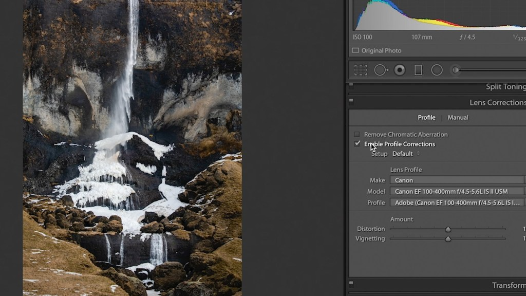 Enabling Profile Corrections in Lightroom
