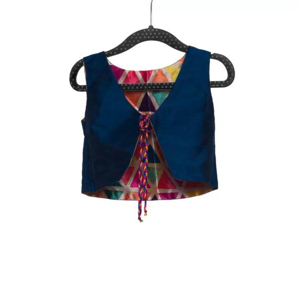 Blue Silk Print Jacket
