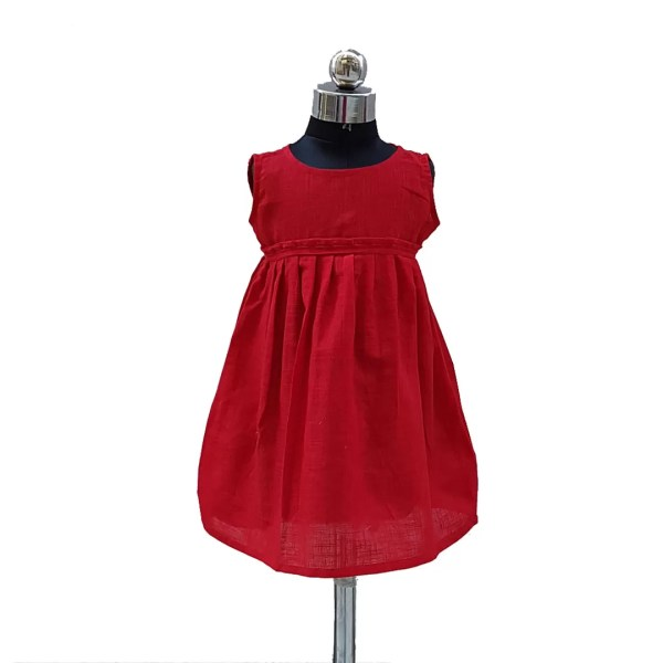 Cotton plain red frock front