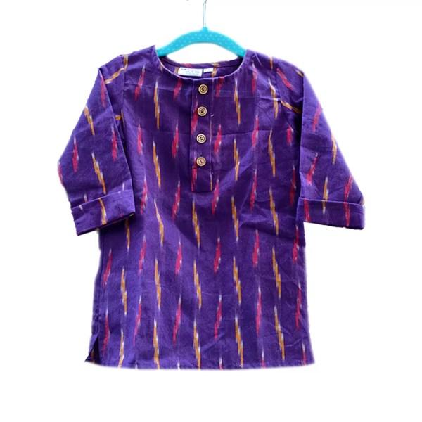 purple ikat kurta little boys
