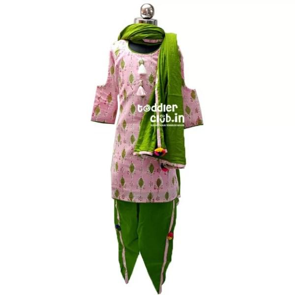 Festive Kids Pink Kurta | Green Tulip Salwar suit