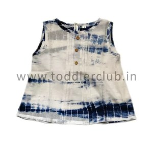 Kids White|Blue Shibori Mal Cotton Top