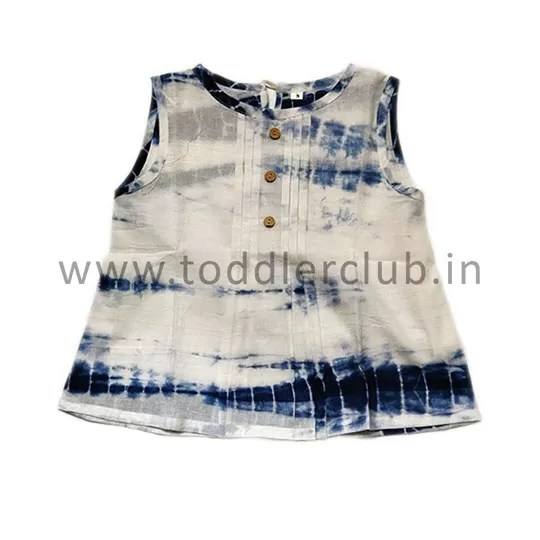 Kids White|Blue Shibori Mal Cotton Top