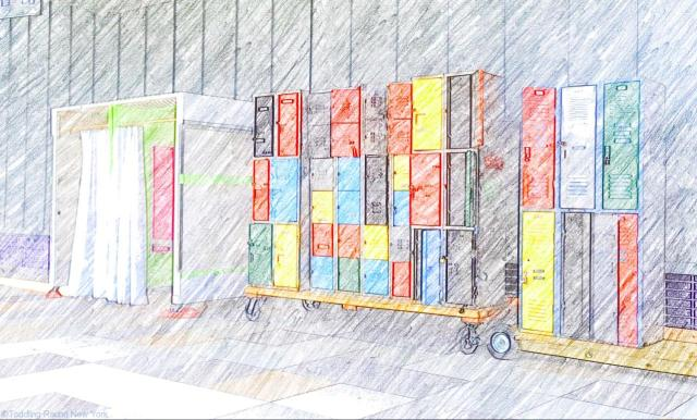 Colourful changing rooms and lockers