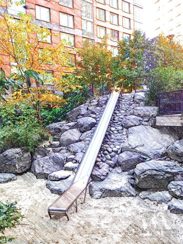 Teardrop Park's 28 foot slide over rocks and into a huge sandpit