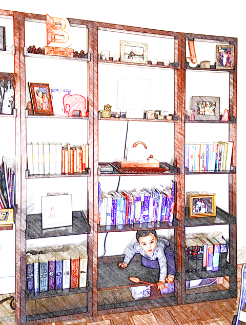 Baby J hiding in the bookcase
