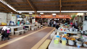 Center area of market for shoppers to eat