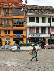 Woman walking across square