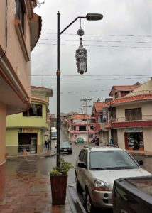 Street pole, traditional jewelry design hanging from it