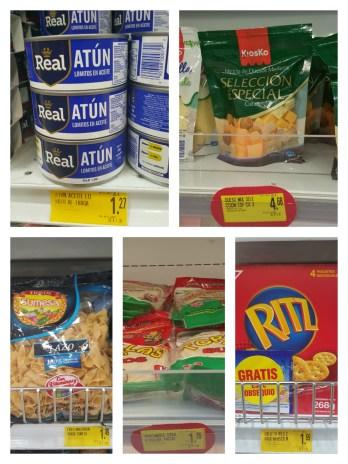 Tuna, Noodles, Cheese & Crackers, Tortillas