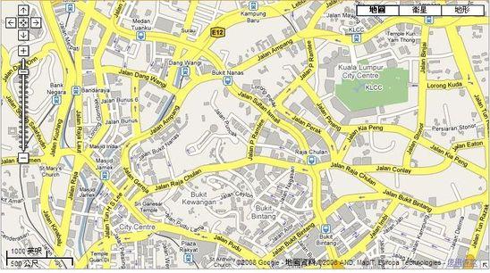 Google Maps 中的吉隆坡街道地圖