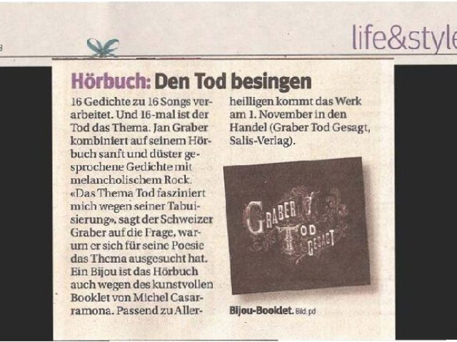 «Den Tod besingen». Plattenbesprechung «Tod gesagt» im PunktCH, Rubrik Life & Style, am 31. Oktober 2008.