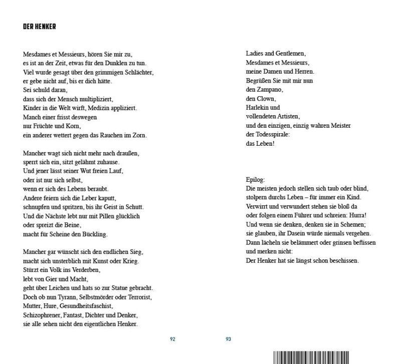 Beispielseite aus dem Gedichtband «Schattenklang»