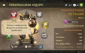 Dungeon Hunter V tutorial personalizar equipo selección armadura