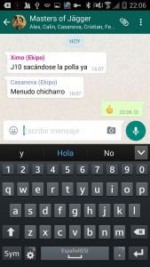 Peineta en conversación WhatsApp