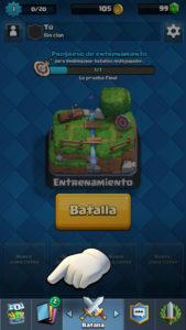 Clash Royale menu baraja